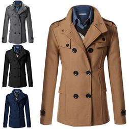 Men's Slim Fit Double Breasted Peacoat Jacket Winter Warm Tr