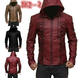 New Men's Hood Leather Jacket Motorcycle Hoodie zipper Coat