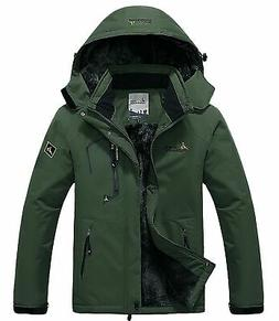Pooluly Men's Waterproof Windproof Rain Snow Jacket Hooded F