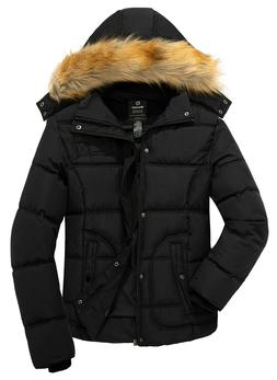 Wantdo Men's Winter Puffer Coat Casual Fur Hooded Warm Outwe