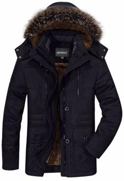 Tanming Men's Winter Warm Faux Fur Lined Coat with Detachabl