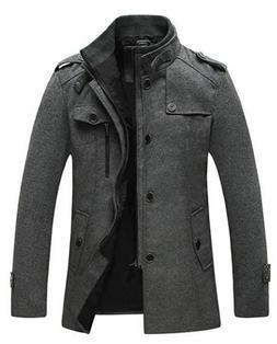Wantdo Men's Wool Blend Jacket Stand Collar Windproof Pea Co