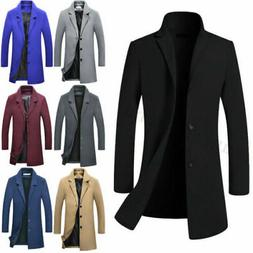 Men's Wool Blends Coat Winter Warm Trench Coat Outerwear Ove