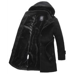 Men's Wool Slim Thicken Padded Hooded Single Breasted Coats