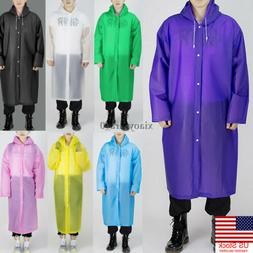 Men Women Waterproof Jacket EVA Button Hooded Raincoat Rain