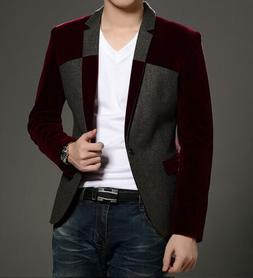 Mens Blazers Chic Wool Blend Jackets Slim Fit Coats Spring S