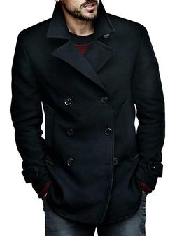 Mens Coats Classic Cotton Blend Fit Double Breasted Winter B