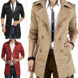 Mens Double Breasted Trench Coat Long Jacket Parka Warm Over