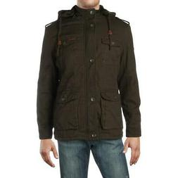 Wantdo Mens Green Canvas Winter Utility Puffer Coat Jacket M