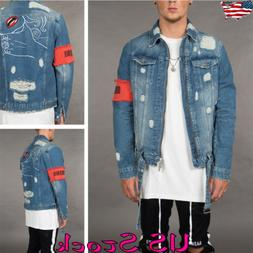 Mens Ripped Casual Lapel Neck Zipper Long Sleeve Jeans Denim