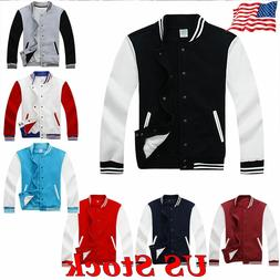 Mens Varsity Jacket University Letterman Baseball College Co