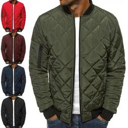 Mens Winter Warm Padded Quilted Puffer Coat Jacket Bomber Zi