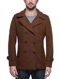 Match Mens Wool Blend Classic Pea Coat Winter Coats 010 Brow