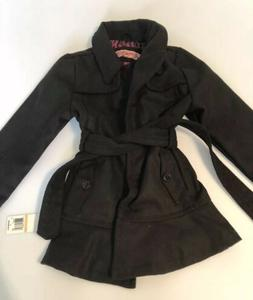 NEW $80 Urban Republic Girls Hooded Dressy Black Wool Coat J
