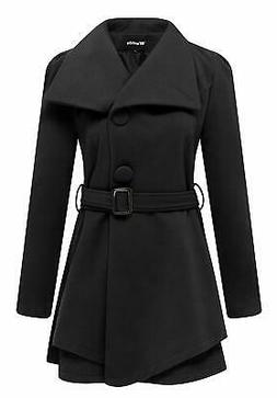 Wantdo NEW Black Womens Size Medium M Belted One Button Wrap
