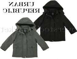 NEW BOYS URBAN REPUBLIC MICROFIBER HOODED SAFARI JACKET COAT