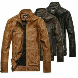 NEW Fashion Men's leather Motorcycle Coats Jackets Washed Le