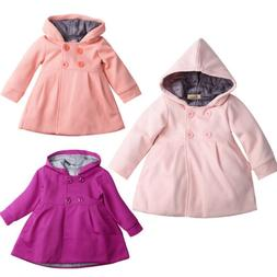 New Kids Baby Girl Hooded Trench Coat Winter Windbreaker Par