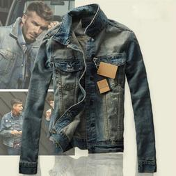 Men's Slim Fit Classic Retro Thicken Coat Jean Denim Jacket
