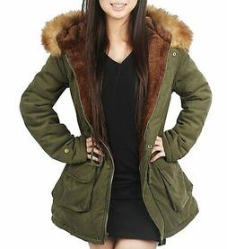 iLoveSia NEW Olive Green Size 14 Juniors Faux-Fur Hooded Par