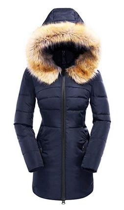 New- Small/Navy- Beinia Valuker Women's Down Coat with Fur H
