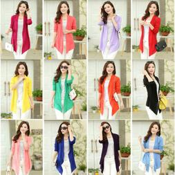 New Summer Women's Casual Long Sleeve Cardigan Ladies Thin S