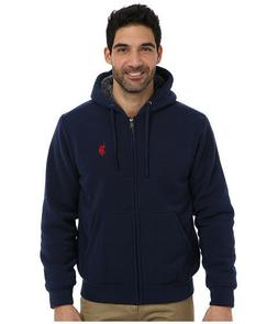 NEW U.S Polo Assn Men Big Tall Sherpa Lined Zip Fleece Hoodi