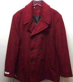 New Calvin Klein Woman Red Pea Coat Winter Double Breasted W