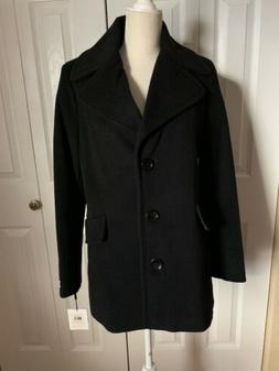 NEW Calvin Klein Women's Black Wool Cashmere Peacoat Overcoa