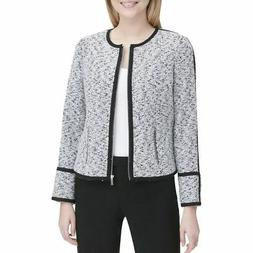 CALVIN KLEIN NEW Women's Contrast Piped Tweed Jacket Top TED