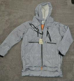 NEW Orolay Women's Gray Quilted Puffer Fleece Lined Hood Jac