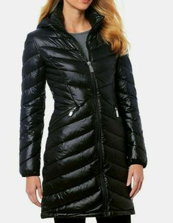 New Calvin Klein Women's Hooded Packable Down Long Puffer Co