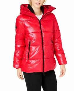 NEW Calvin Klein Women's Oversized Hooded Puffer Jacket Red