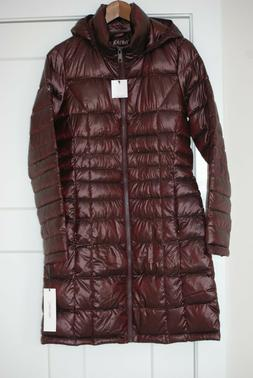 NEW Women's Calvin Klein PACKABLE DOWN HOODED LONG PUFFER CO