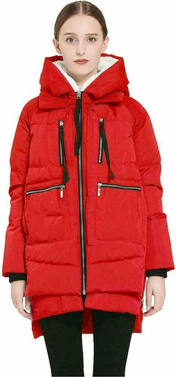 NEW Orolay Women's Red Black Thickened Down Amazon Coat 3X