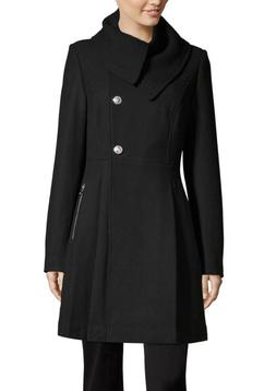 nwt $220 LIZ CLAIBORNE Black Wool Fitted PEA COAT JACKET PEA