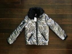 NWT Urban Republic girls L 14 Silver removable Faux Fur Trim