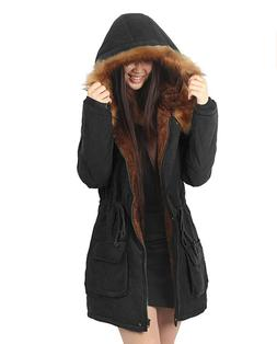 NWT iLoveSIA Women's Parka Hooded Coat Faux Fur Lined Jacket