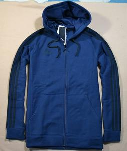 NWT MEN ADIDAS ESS COT FLEEC FULL ZIP NAVY BLUE HOODIE JACKE