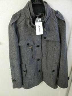 NWT Wantdo Men's Wool Blend Jacket Stand Collar Windproof Pe