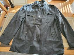 NWT Wantdo Mens Pea Coat Black Size Large XXL Button-Front
