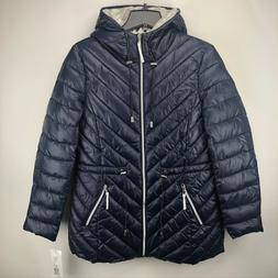 NWT French Connection Puffer Jacket Coat Water Repellant Nav