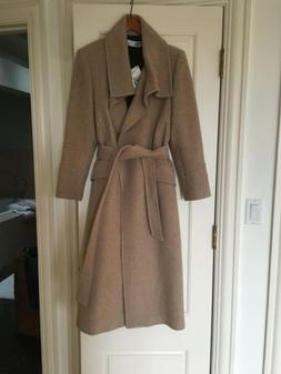 nwt woman beige coat with wrap collar