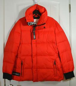 NWT WOMEN CALVIN KLEIN NEON RED QUILTED PUFFER JACKET FULL Z