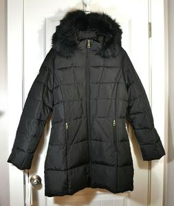NWT WOMEN'S CALVIN KLEIN BLACK FAUX FUR TRIM PUFFER COAT JAC