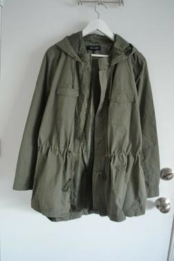 NWT New Look Women's Hooded Jacket Coat Anorak Olive Cotton