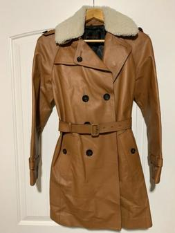 nwt women s iconic leather trench coat
