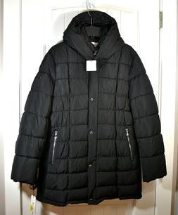 NWT WOMEN'S CALVIN KLEIN PLUS BLACK PUFFER COAT JACKET BUTTO