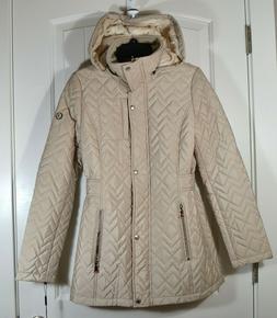 NWT WOMEN'S CALVIN KLEIN QUILTED HOODED FAUX FUR LINED JACKE
