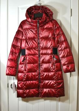 NWT WOMEN'S CALVIN KLEIN RED LONGLINE HOODED PUFFER COAT JAC